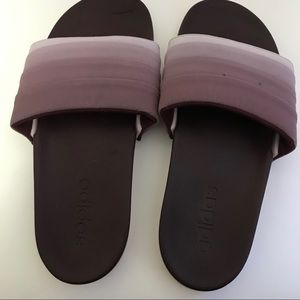 Purple ombré adidas slides size 7 some blemishes
